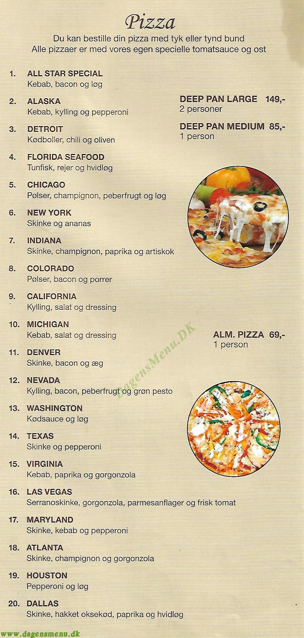 American Pizza Cafe - Menukort