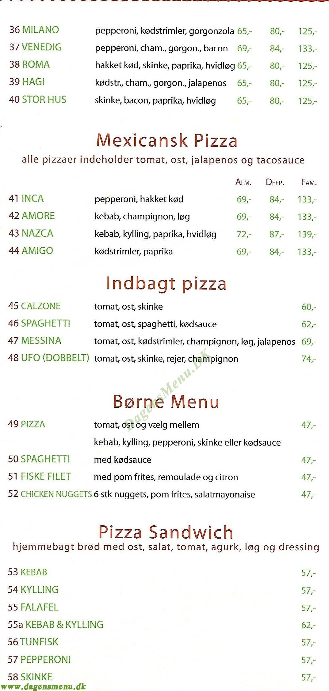 oasen pizza avedøre menu