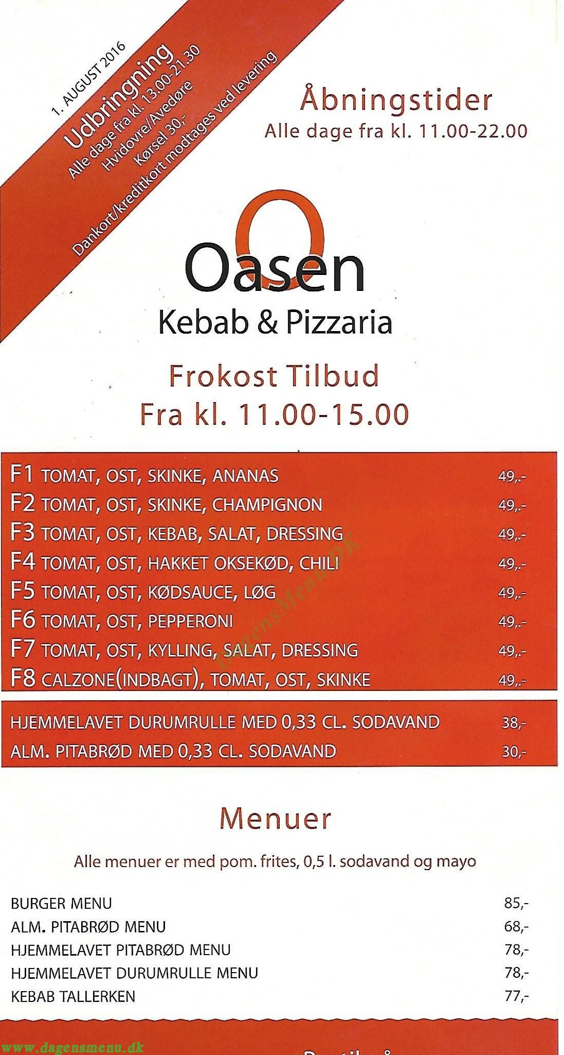 oasen pizza avedøre menu