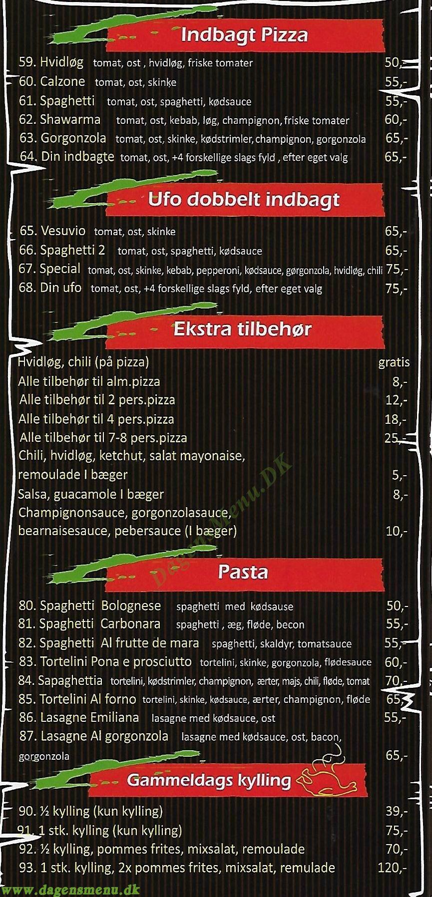 Verona Pizzeria - Menukort