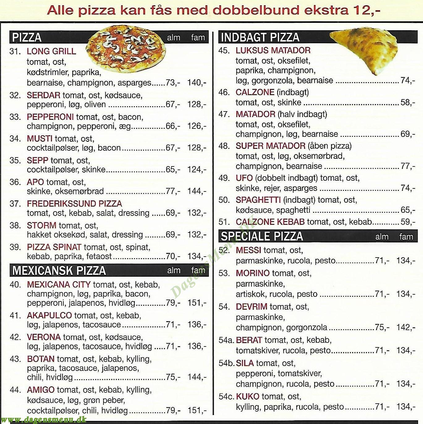 Frederikssund Pizzeria & Burgerhouse - Menukort