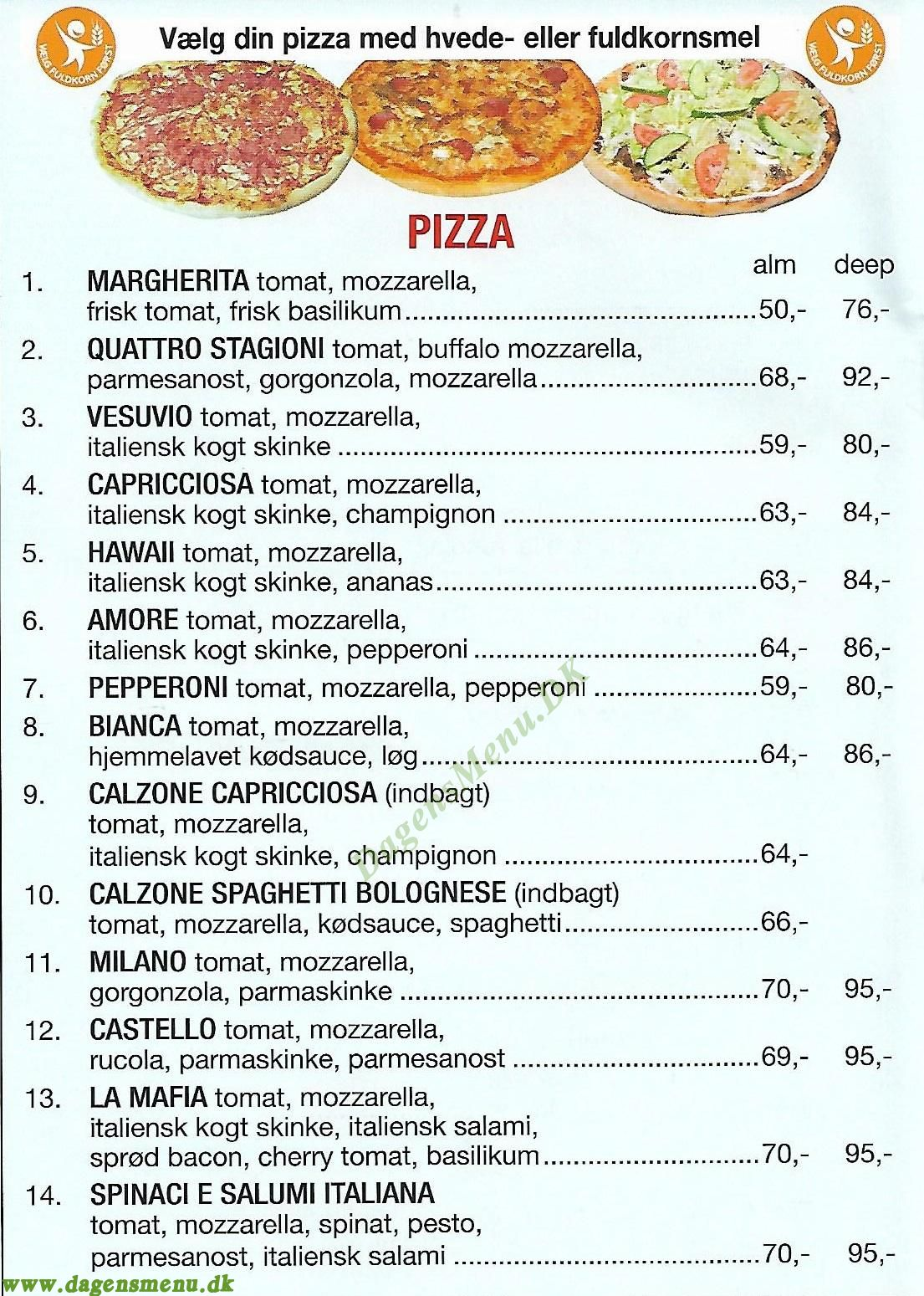 Costa Pizza - Menukort