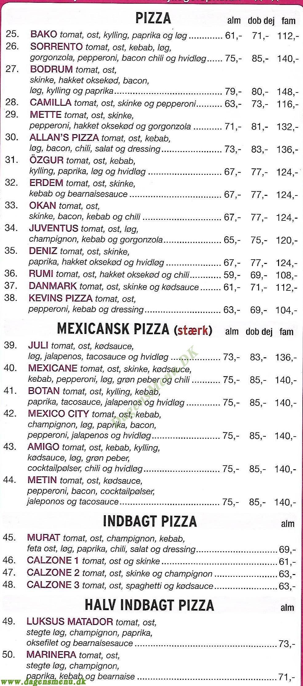 Roma Pizzeria - Menukort