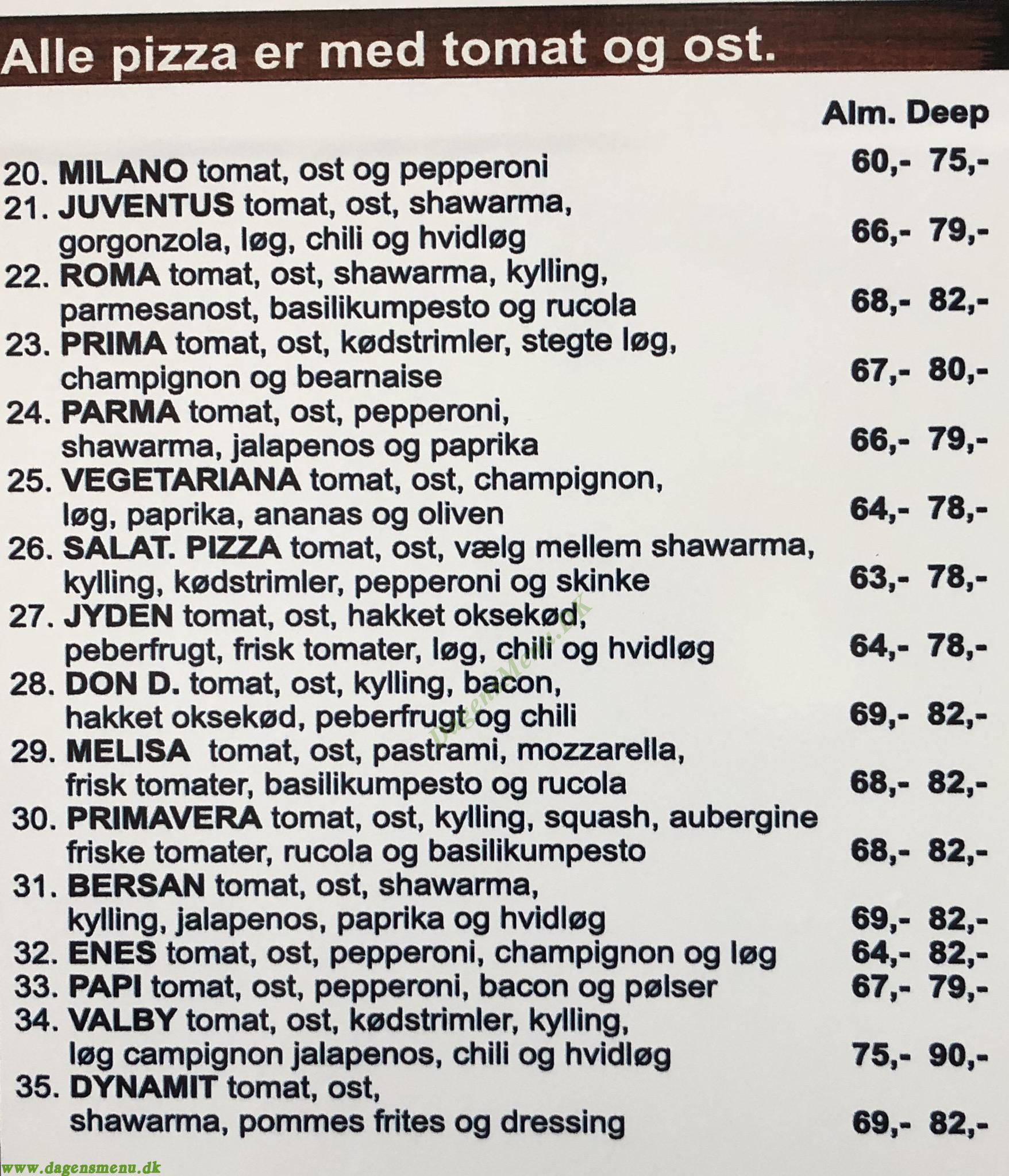Valby Pizza & Shawarma Hus - Menukort