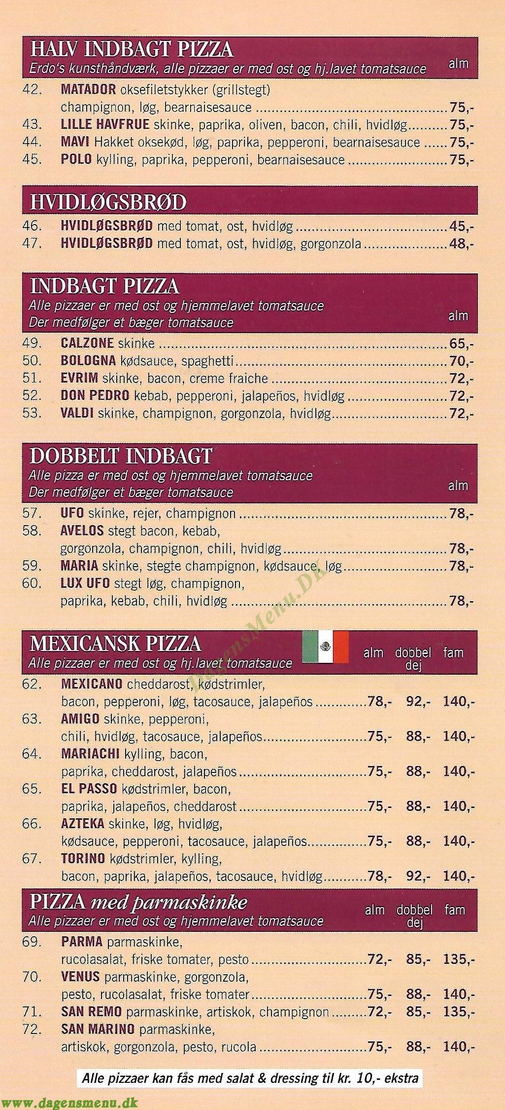 Milano Pizza & Grillbar - Menukort