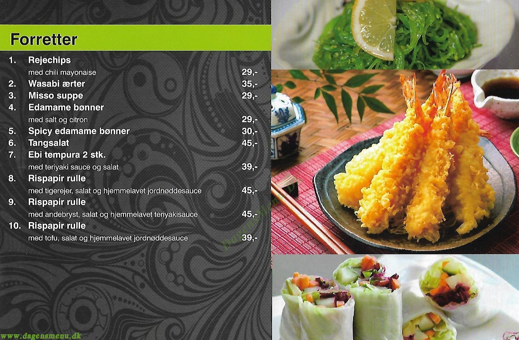 Jin Shi Restaurant - Menukort