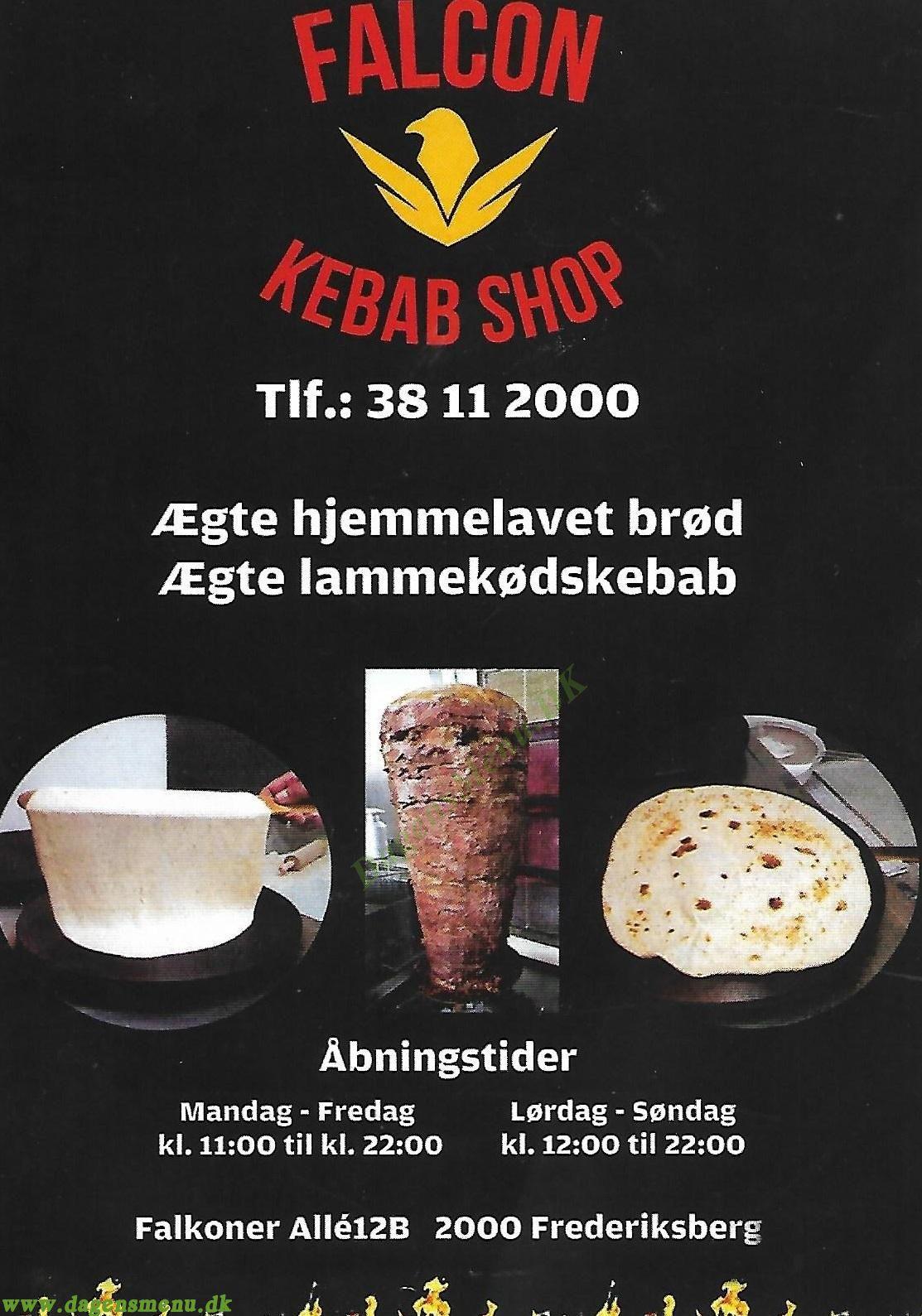 Falcon Kebab Shop - Menukort