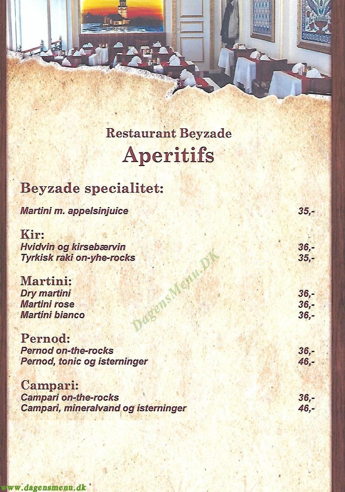 Beyzad. Tyrkisk Restaurant - Menukort