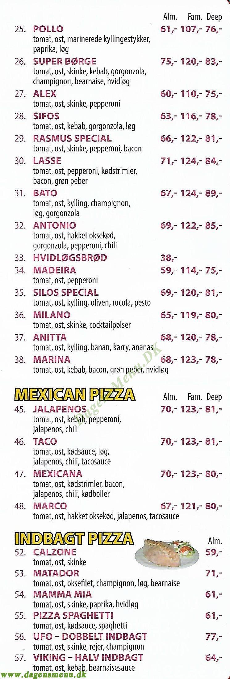 Le Fiesta Pizzeria - Menukort