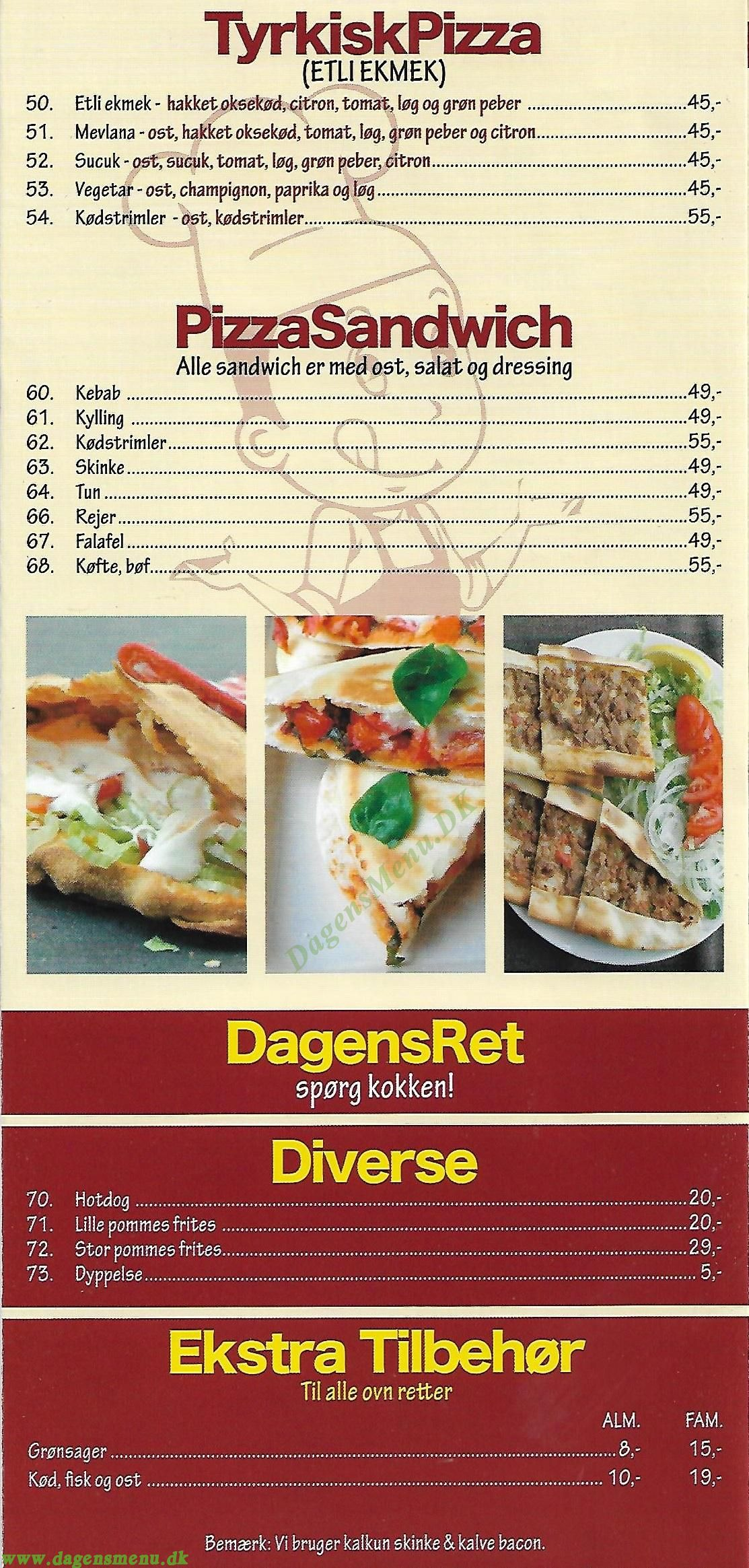 Ro's Kebab & Pizza House - Menukort