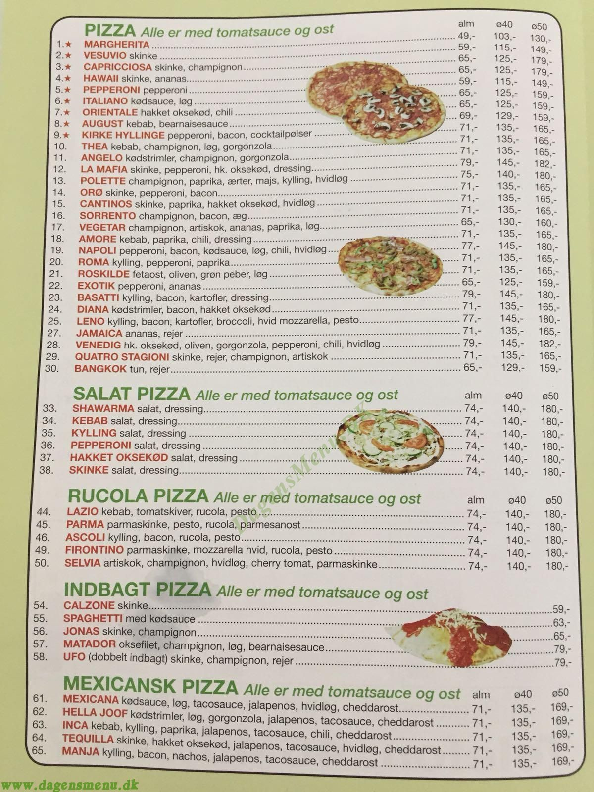 Cantinos Pizza Menukort