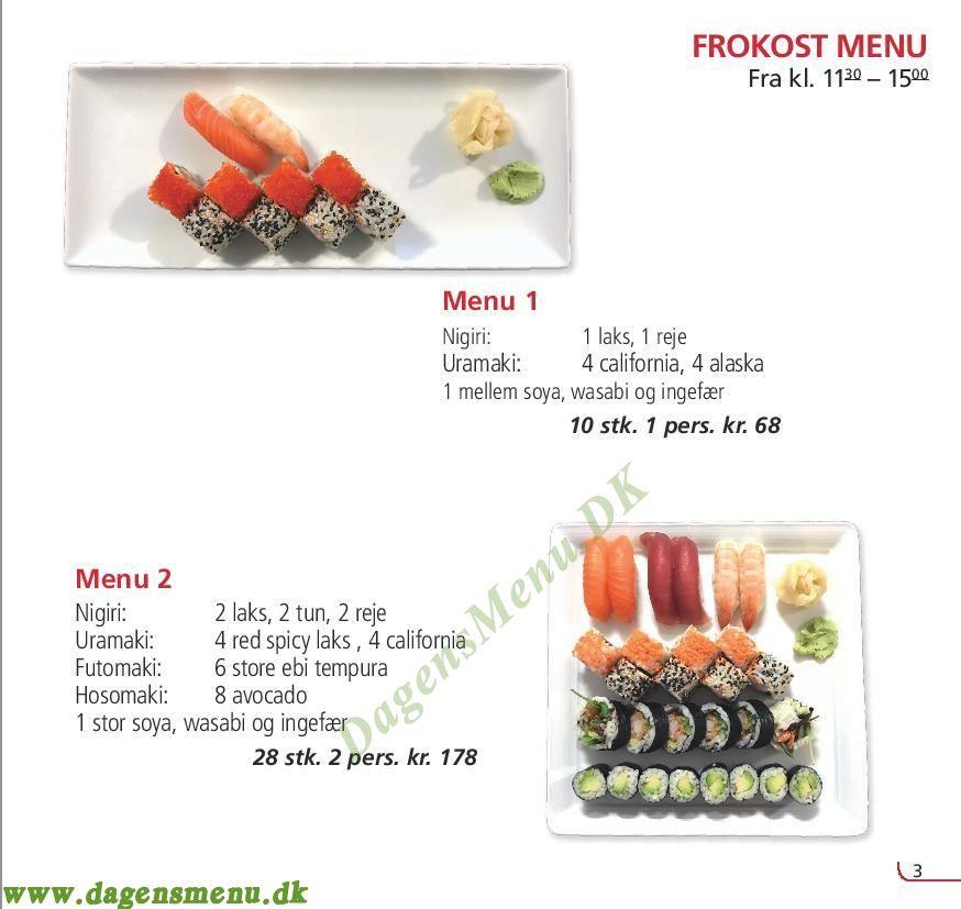 Restaurant Yobi Sushi - Menukort