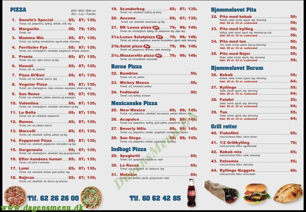 Ferritslev Pizza Grillbar - Menukort