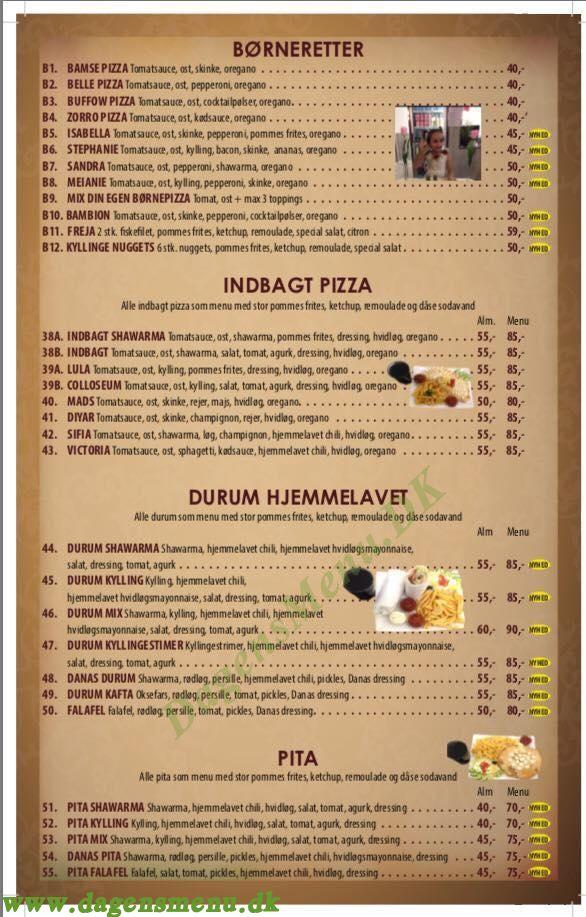 Dana Pizza og Grill - Menukort