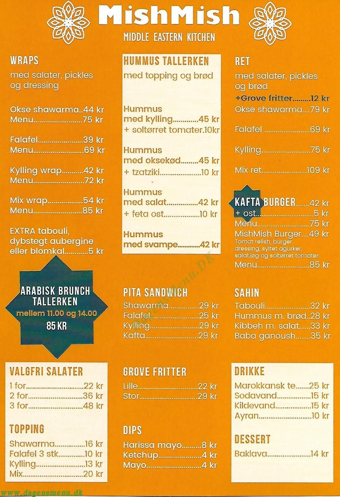 MishMish Middle Eastern Kitchen - Menukort