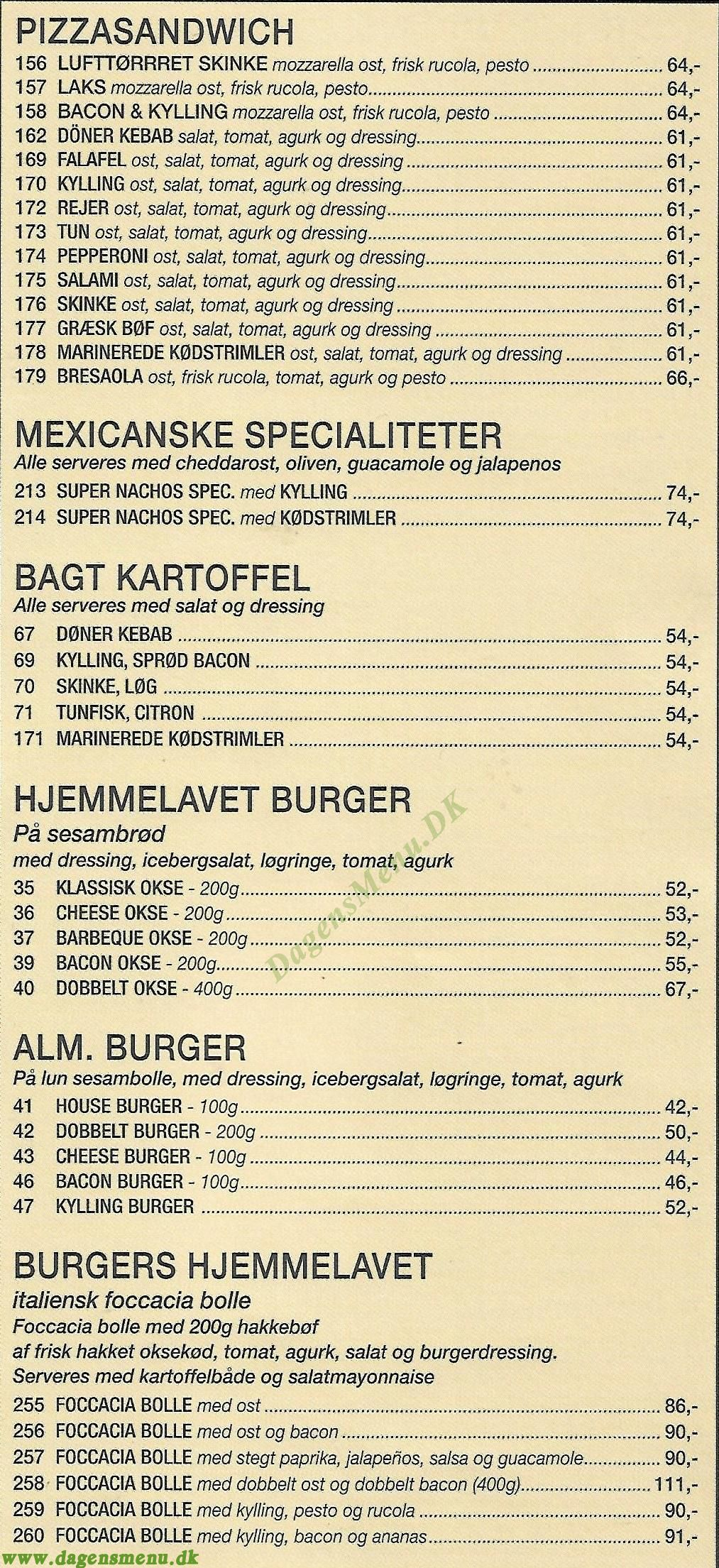 Pizza Burger House - Menukort
