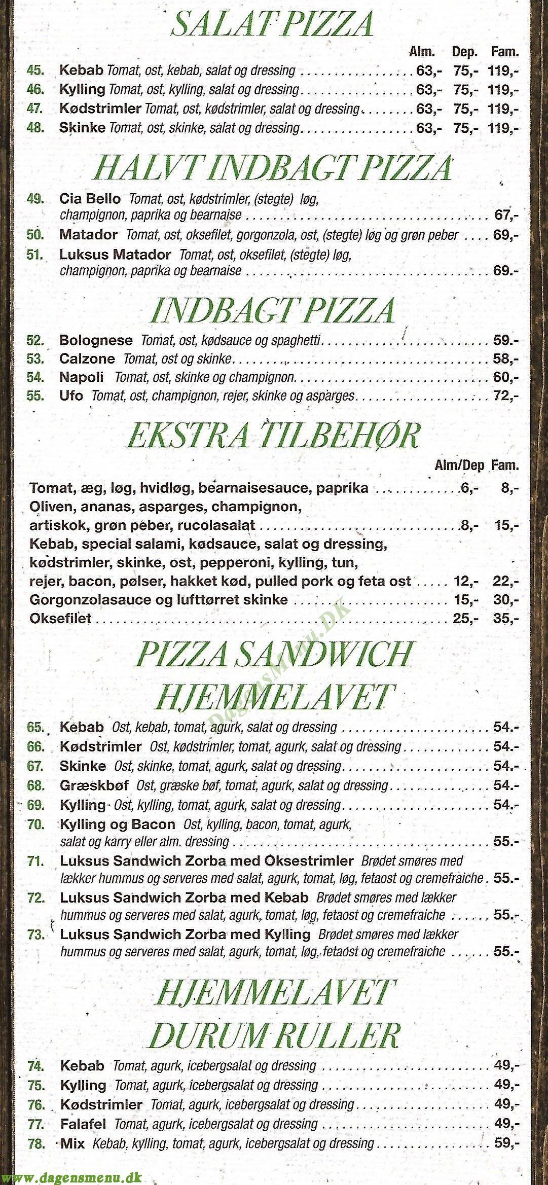La Serra Pizza - Menukort