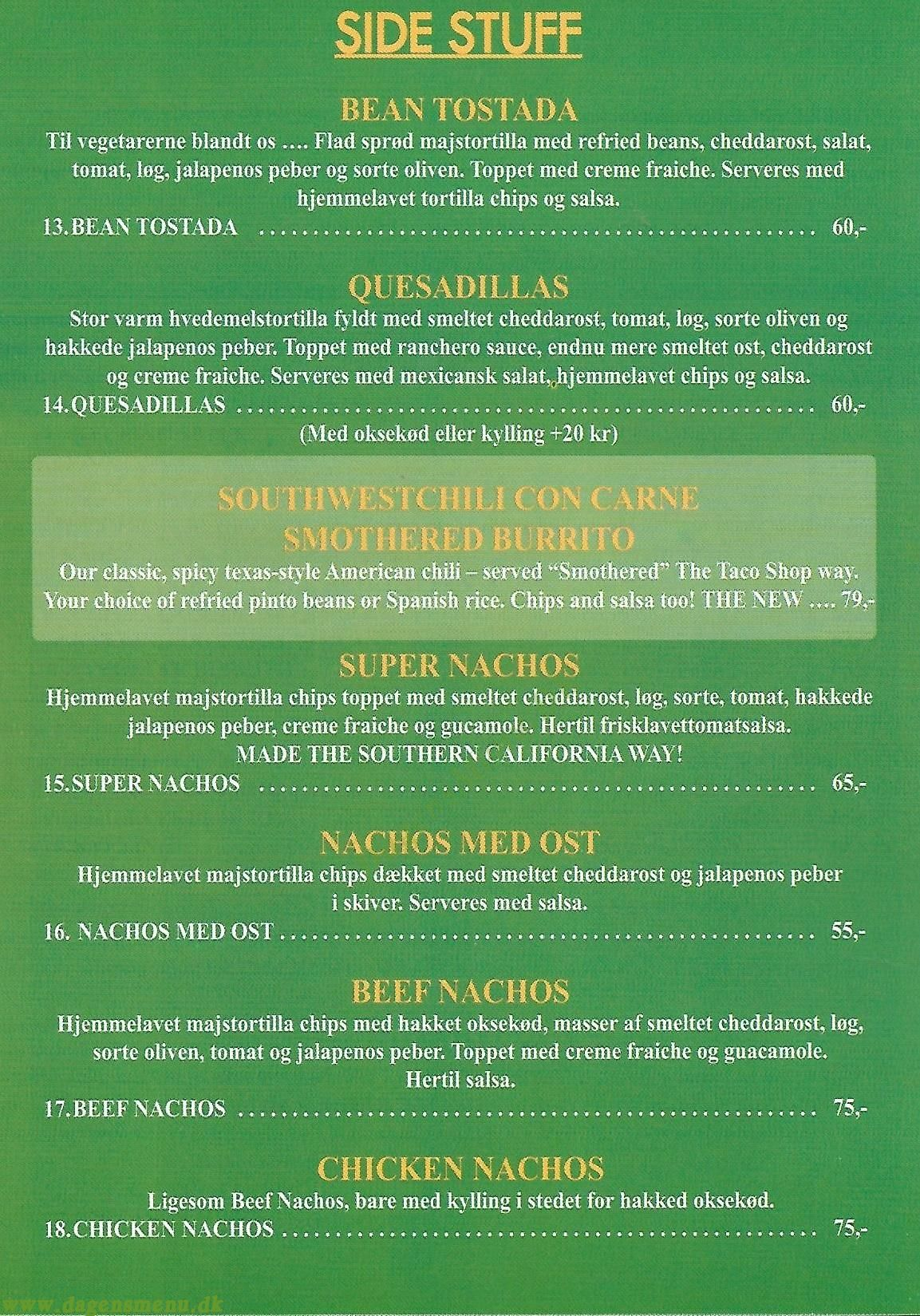 The Taco Shop - Menukort