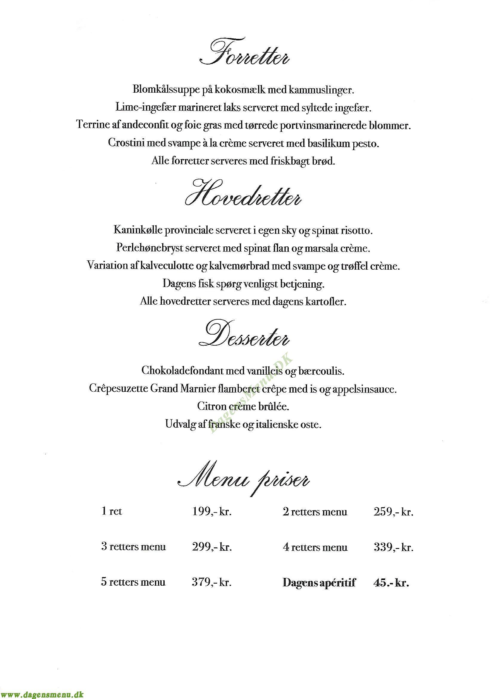 Romarin Restaurant - Menukort