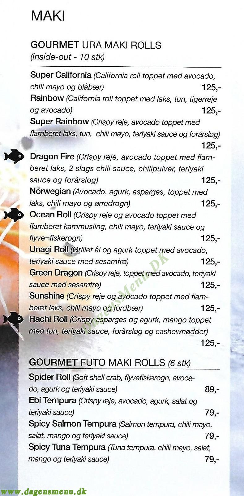 Hachi Sushi - Menukort