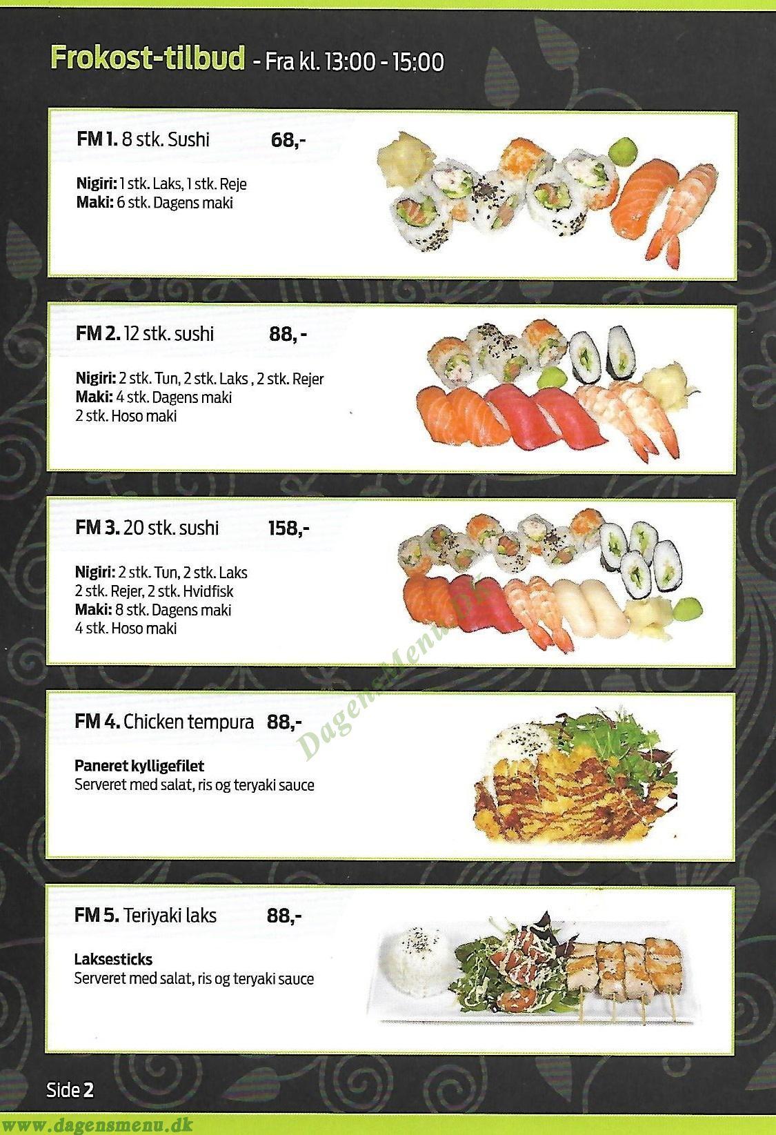 Takii sushi Nørrebro - Menukort