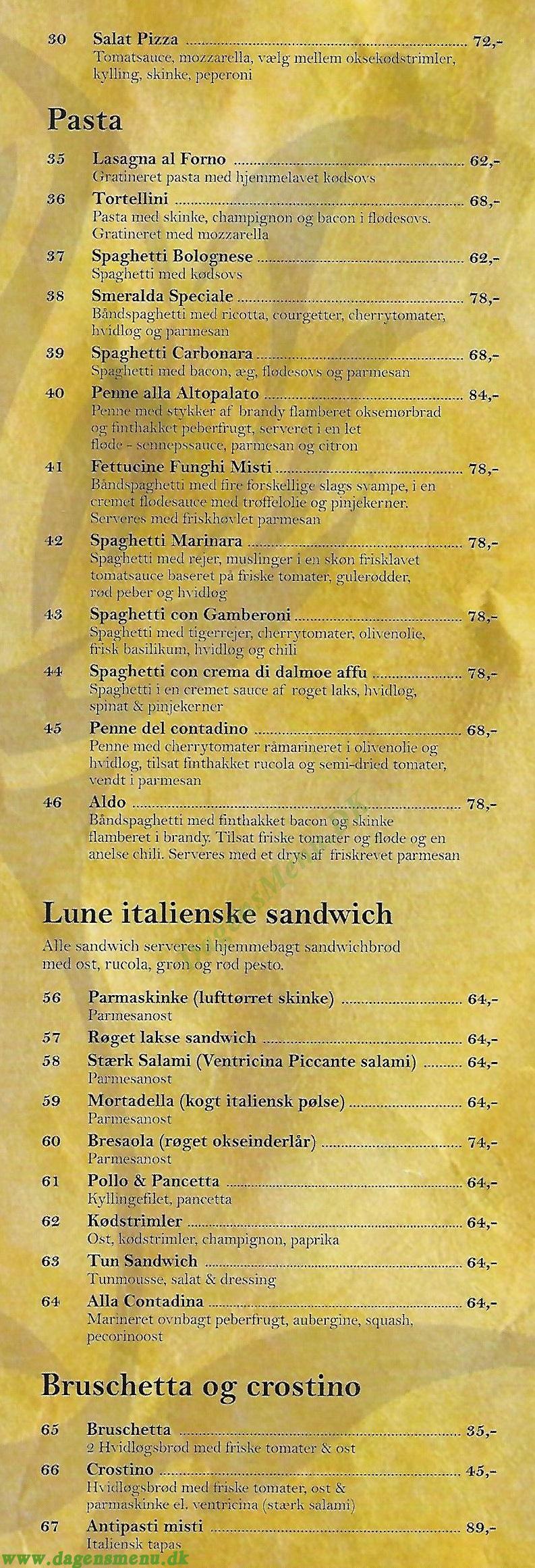 Gastronomia IL Fiore - Menukort