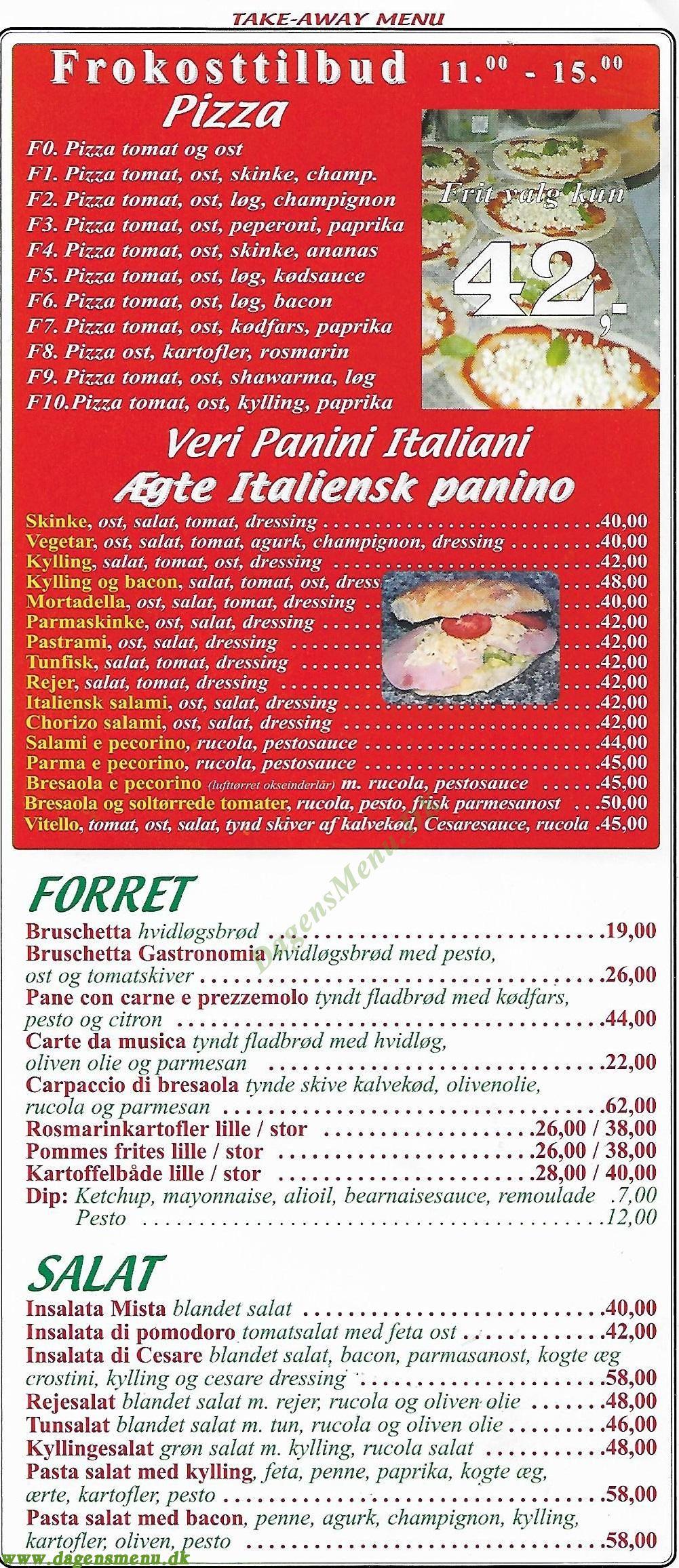 Gastronomia italiana - Menukort