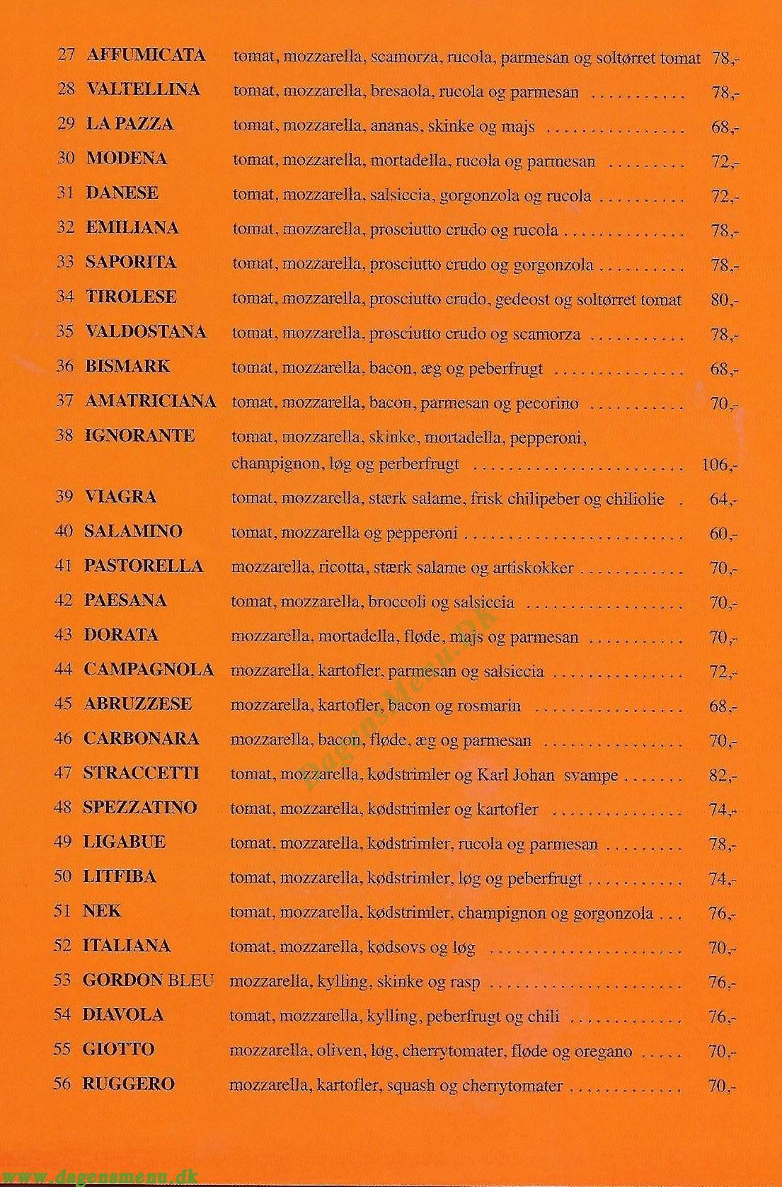 Pomodoro & Mozzarella - Menukort