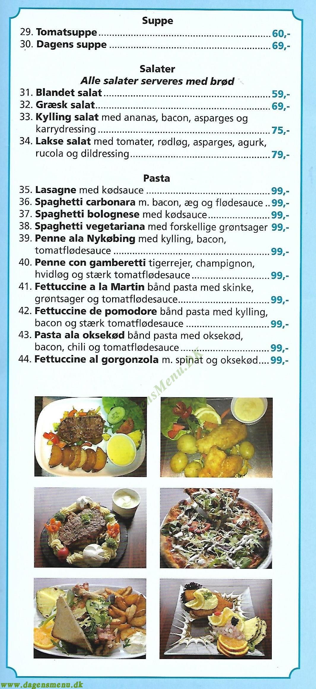 Restaurant Nykøbing - - Menukort