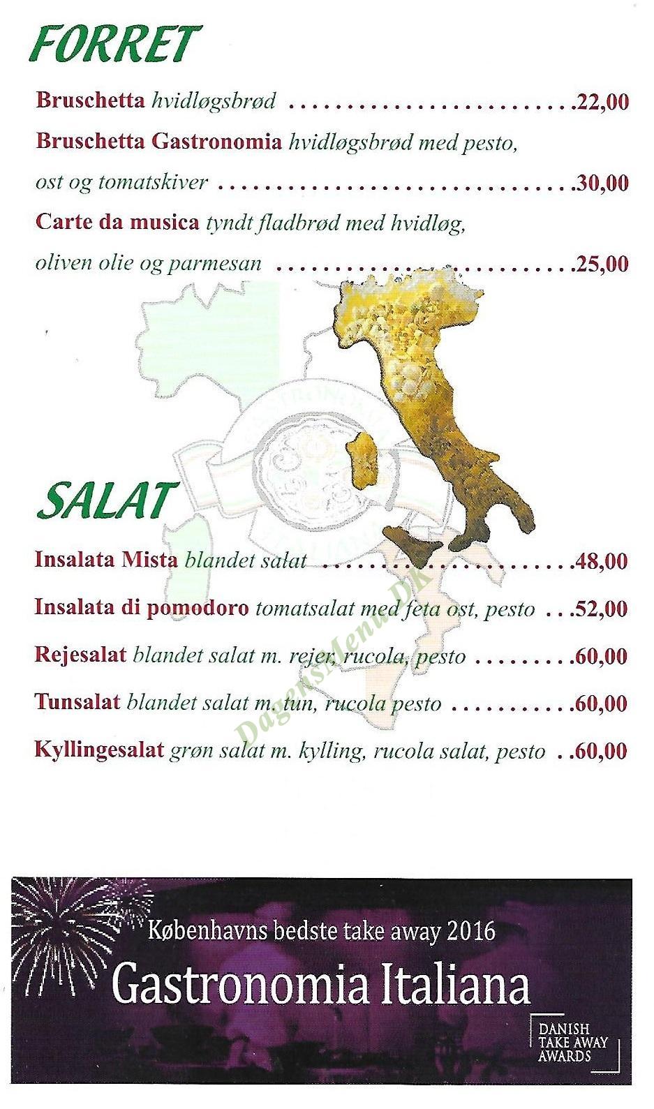 Gastronomia Italiana 5 - Menukort