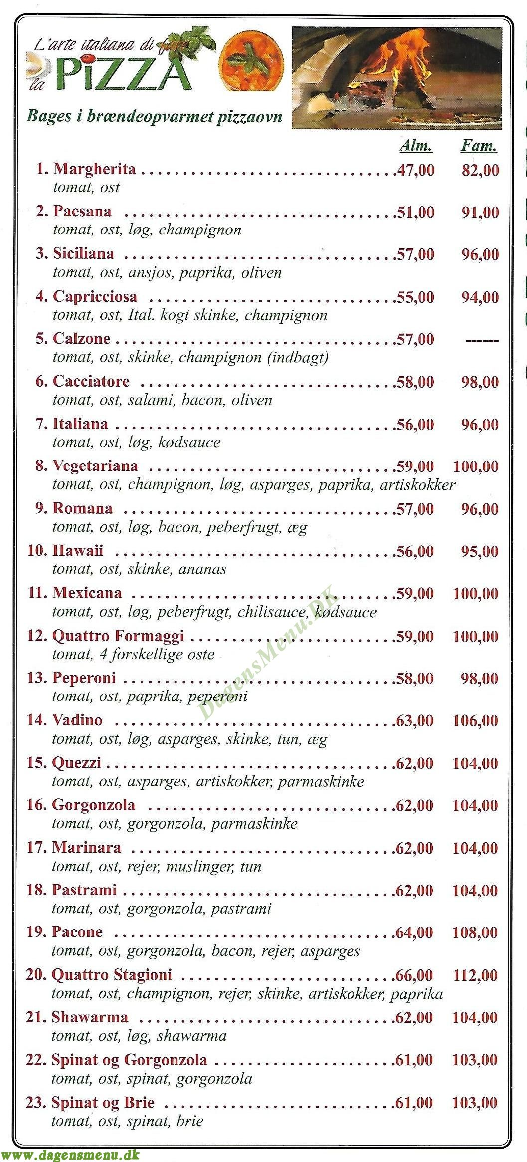 Gastronomia Italiana Jagtvej - Menukort