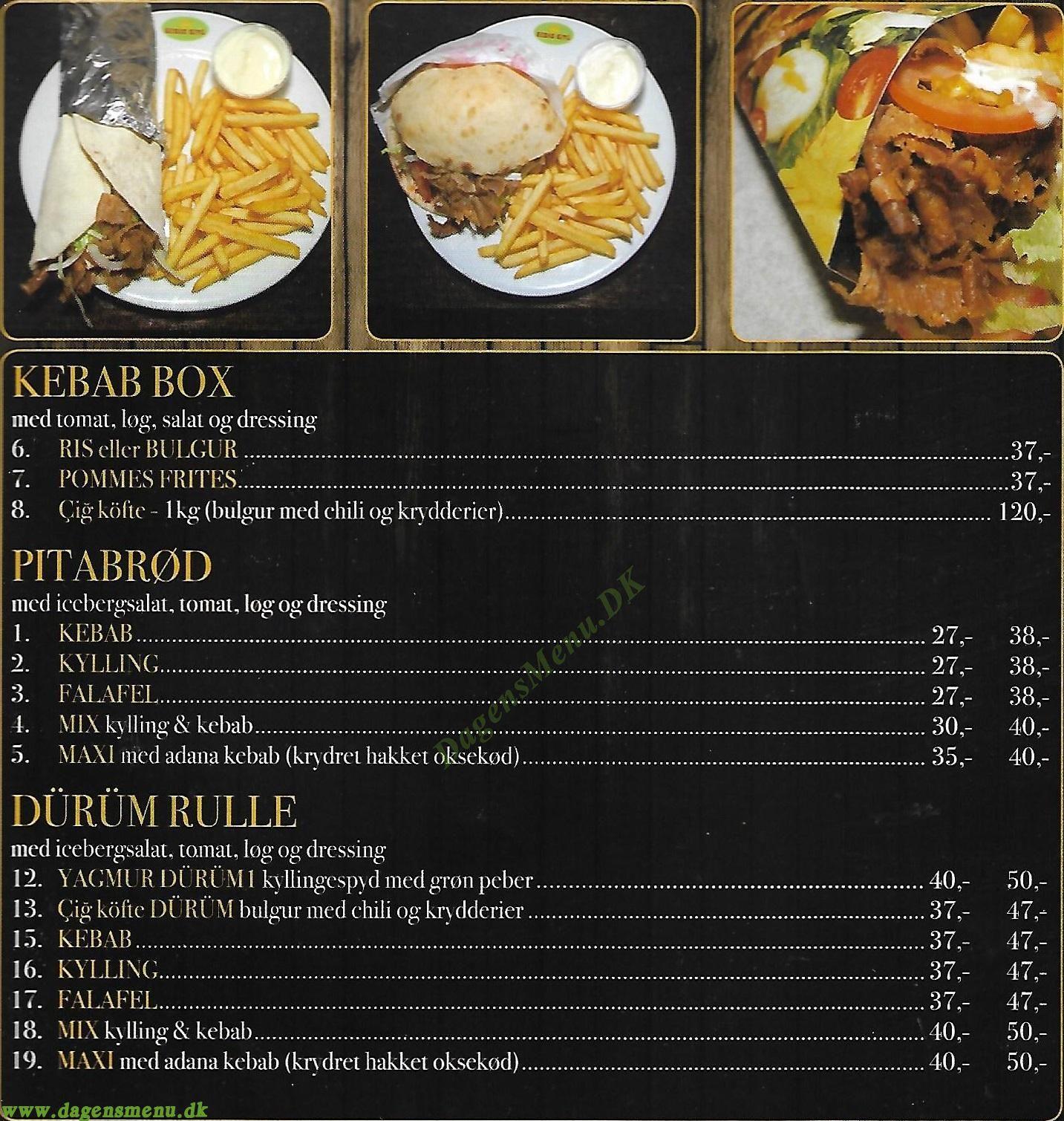 Kebab King - Menukort