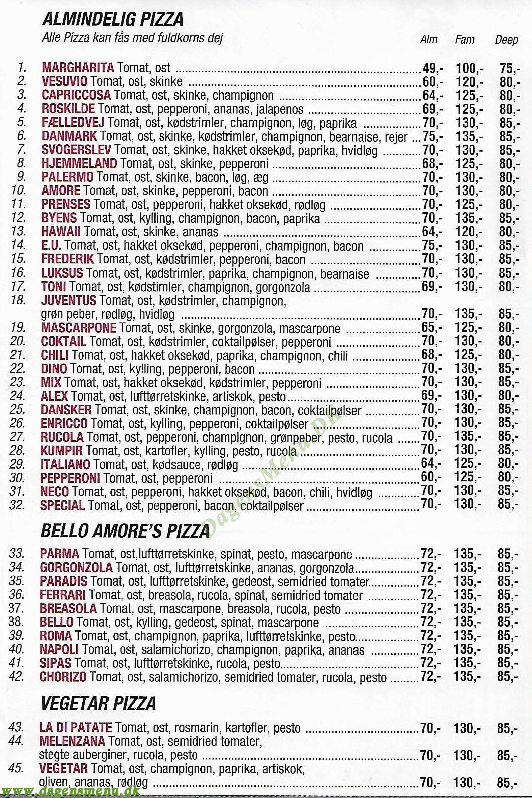 Bello Amore Pizza House - Menukort