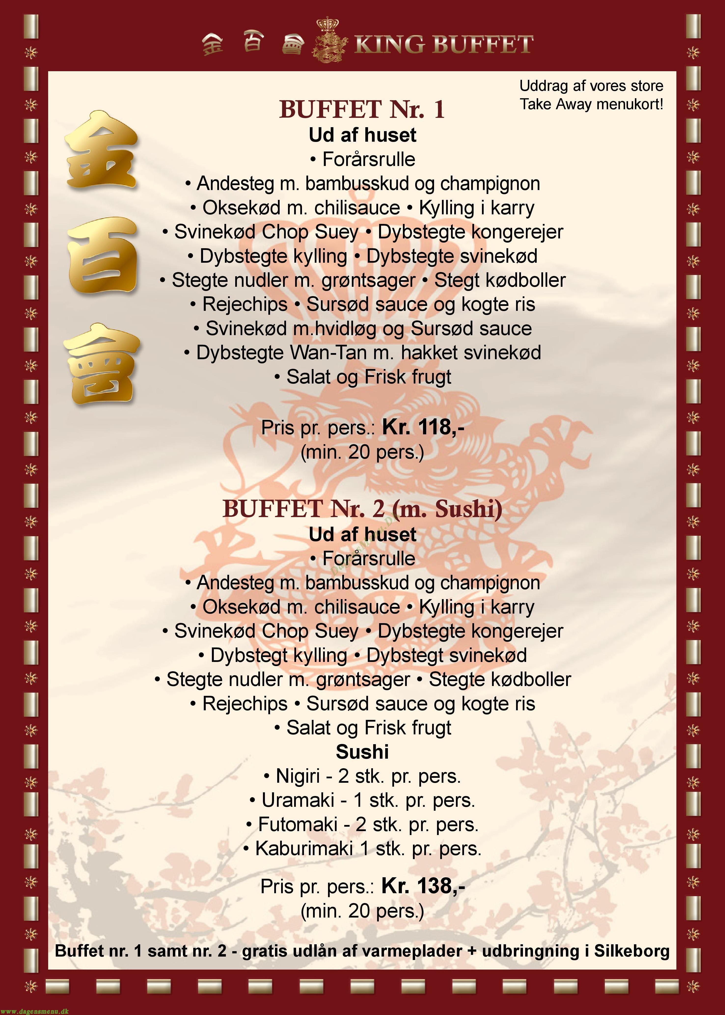 Restaurant King Buffet - Menukort