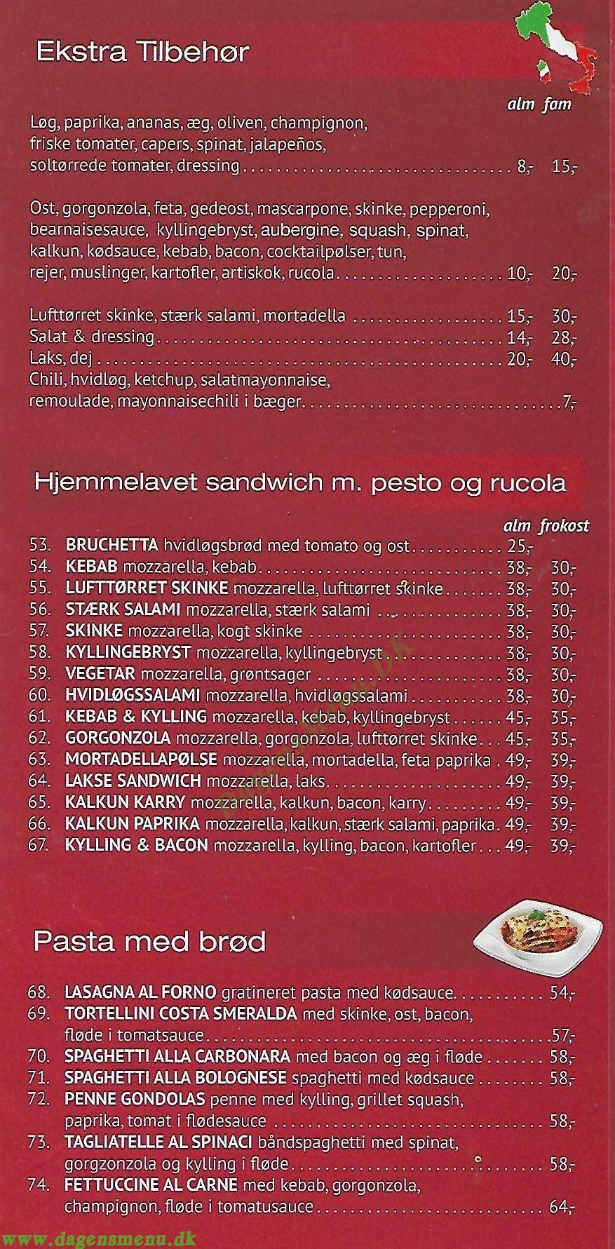 Bentzons Pizzaria - Menukort