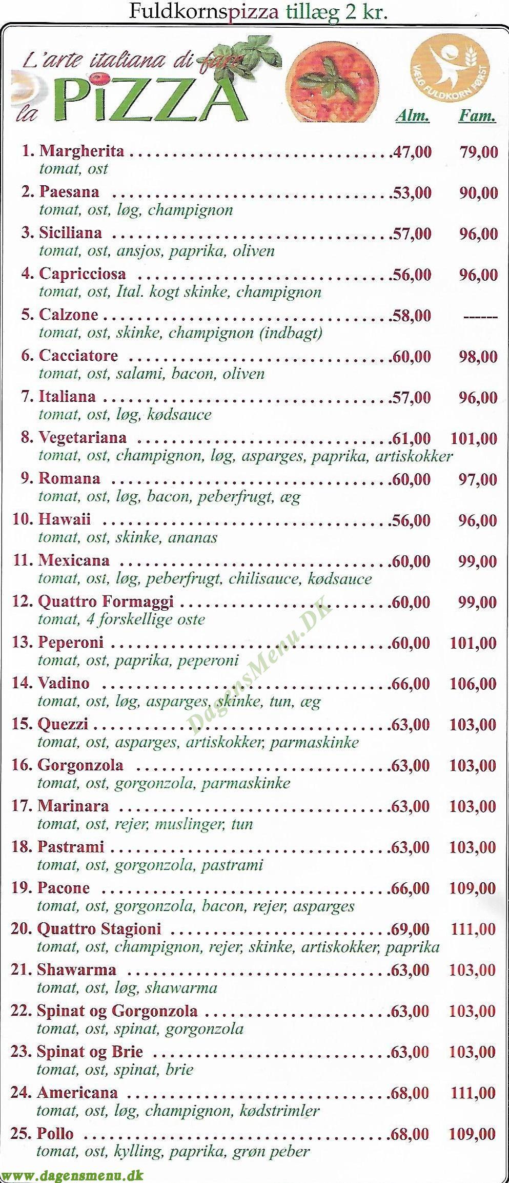 Gastronomia Italiana 7 - Menukort