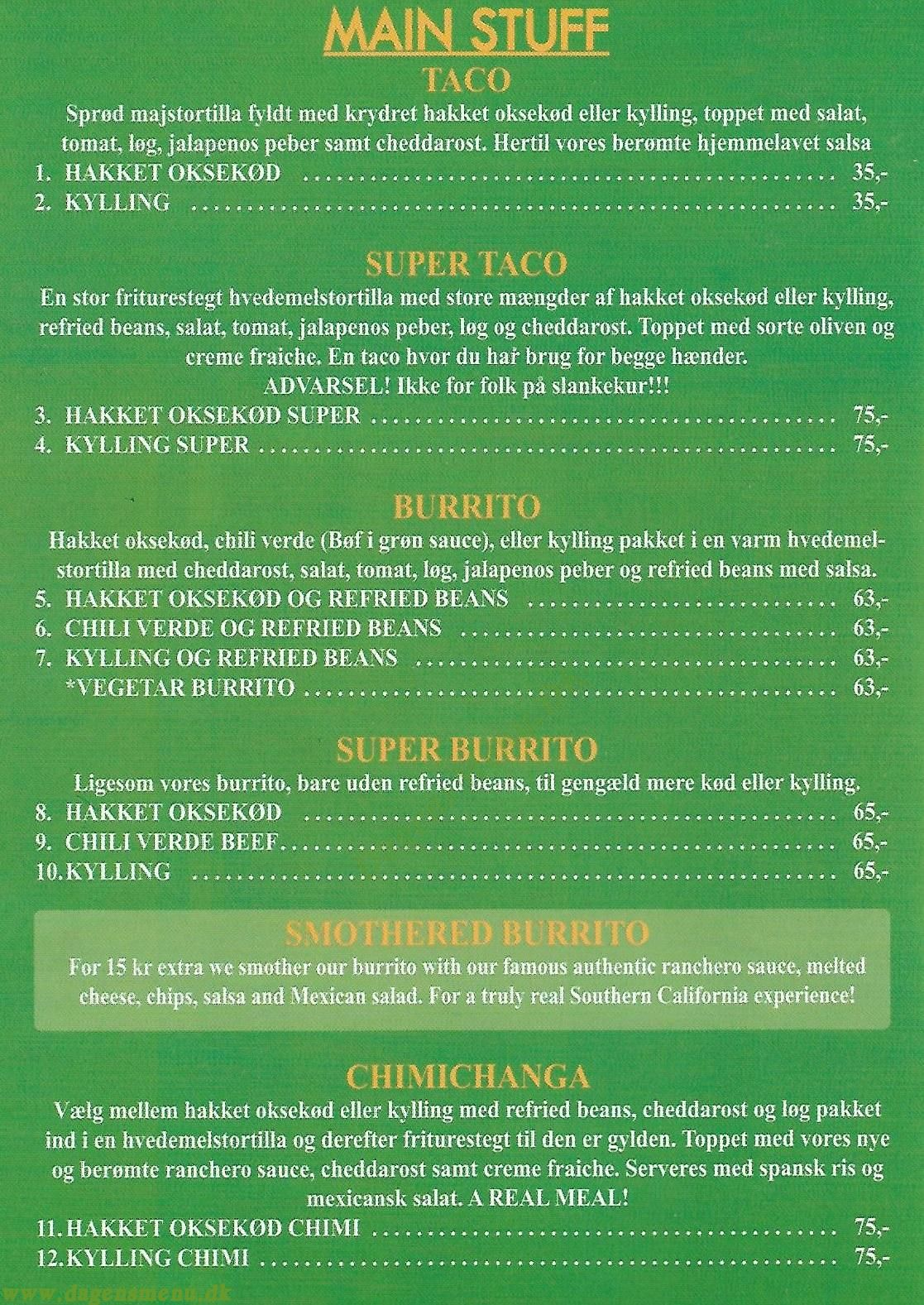 Taco Shop - Menukort