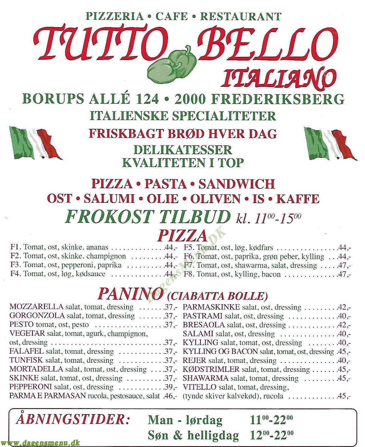 Tutto Bello Italiano - Menukort