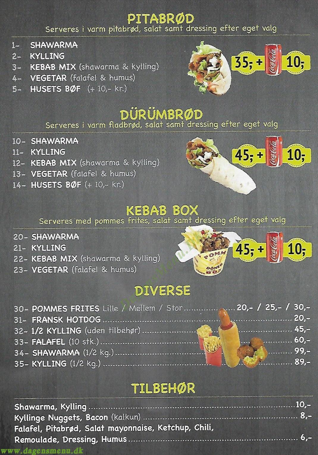 Den Grønne Shawarma - Menukort