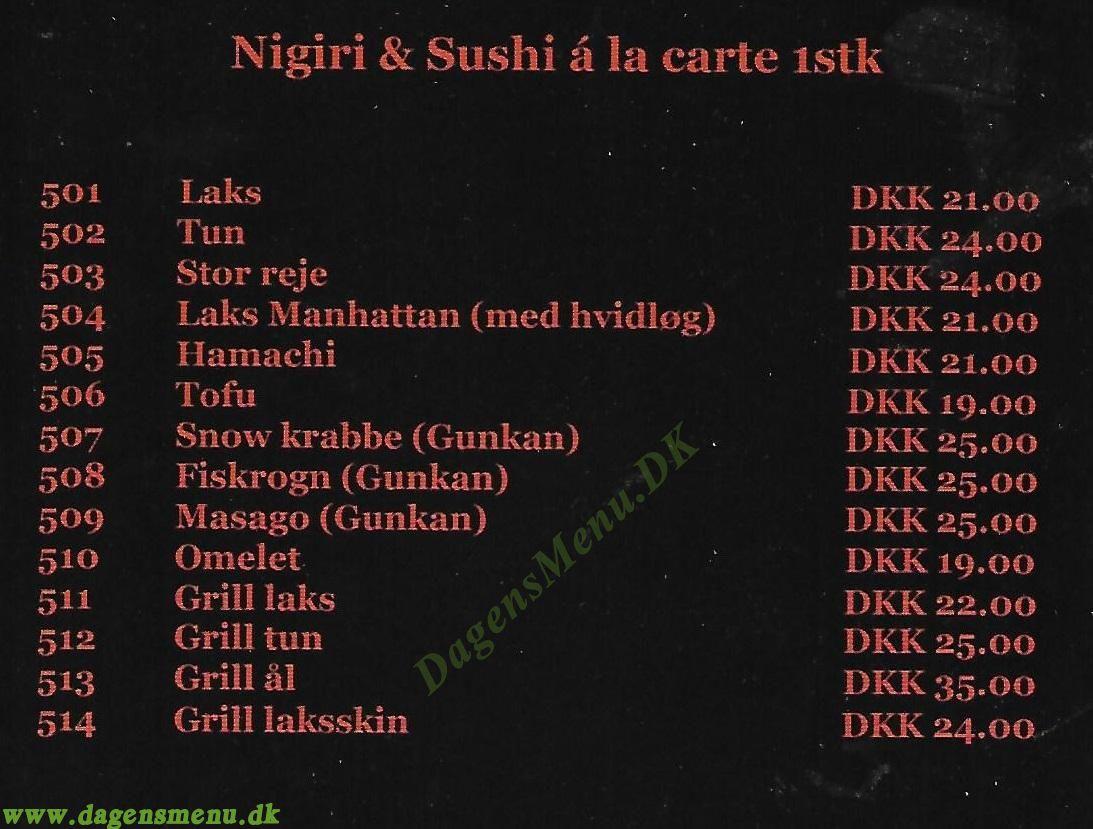 Hing sushi Tadashii - Menukort