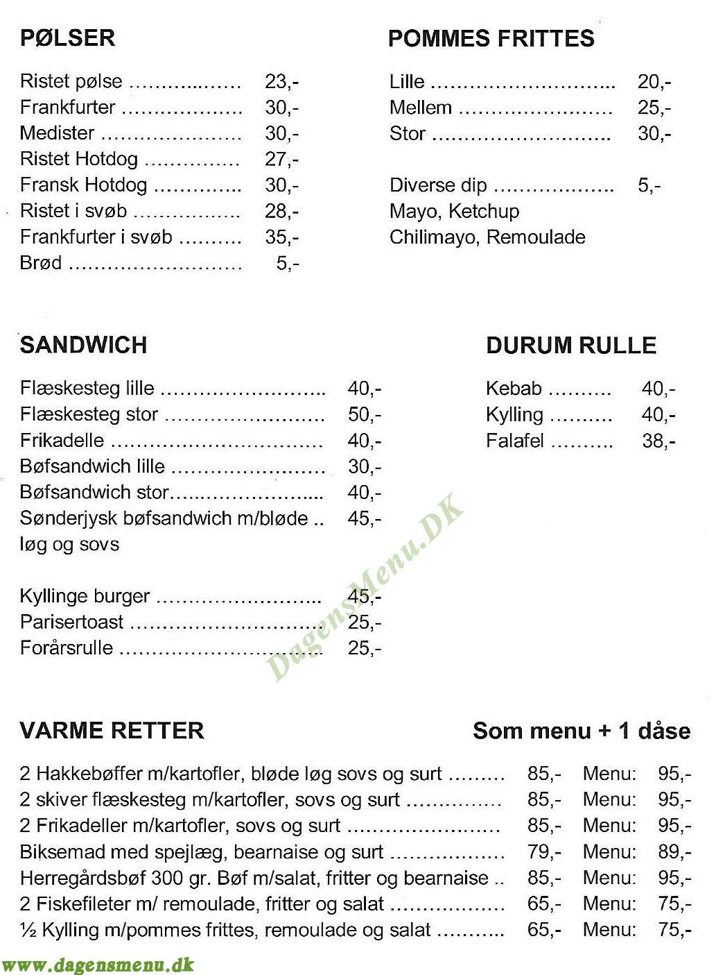 Rialto Grill - Menukort