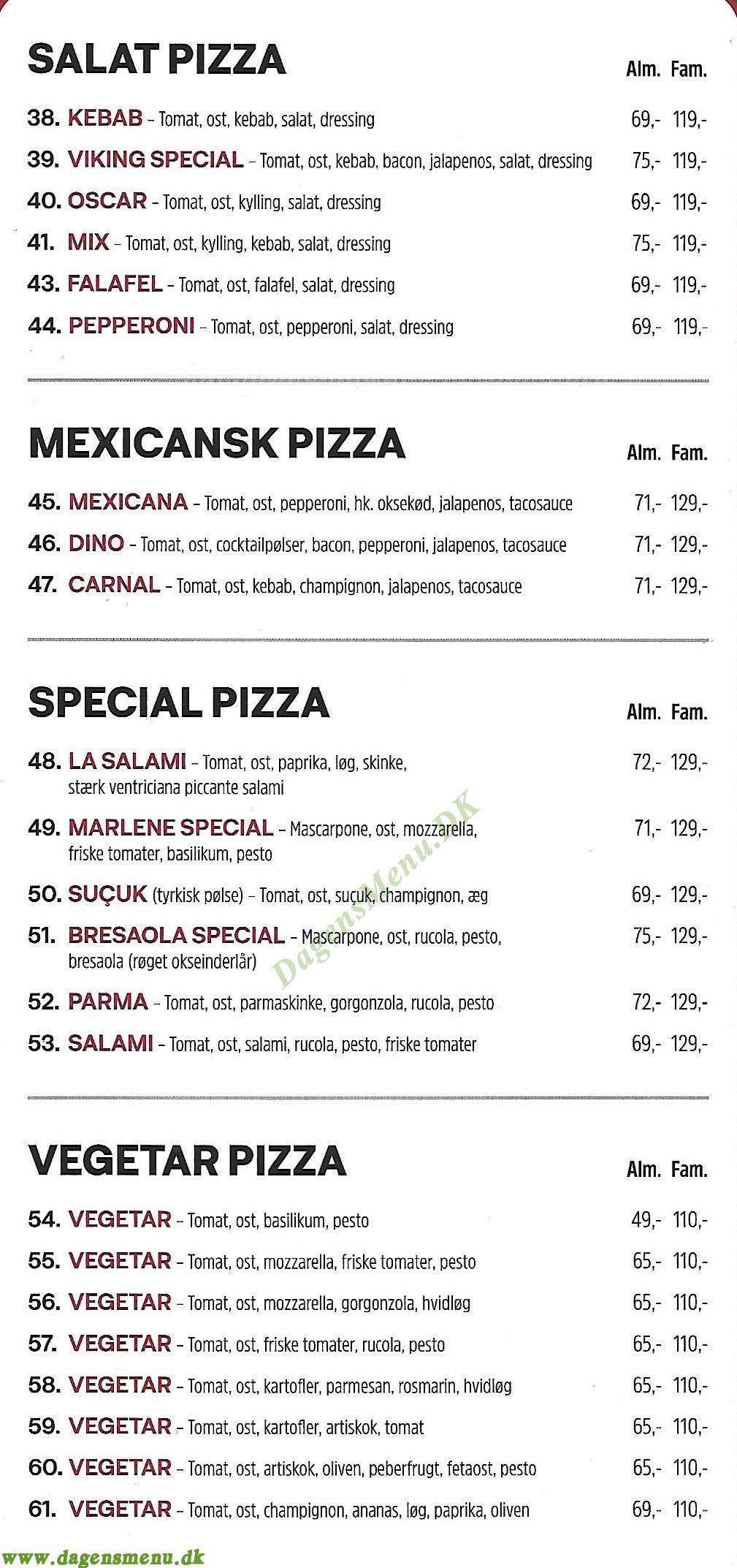Fortezza Pizza & Sandwich - Menukort