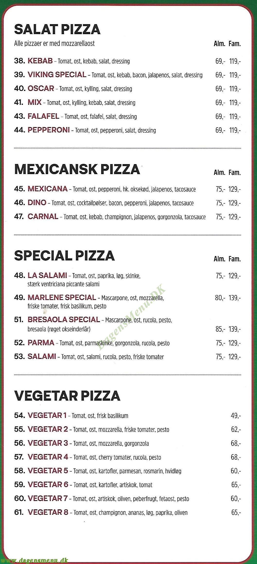Fortezza Pizza - Menukort