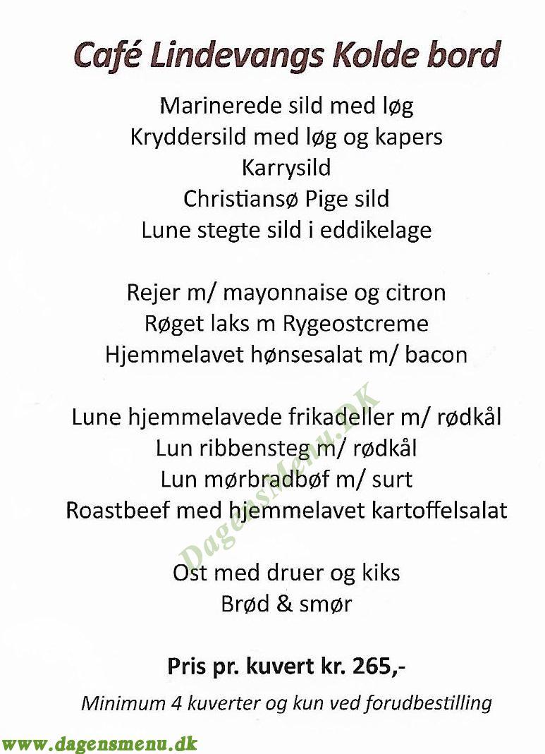 Cafe Lindevang - Menukort