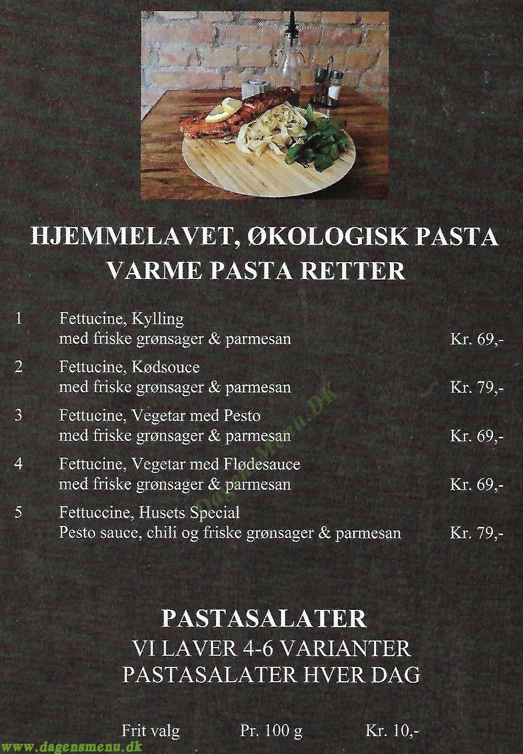 Pasta Huset - Menukort