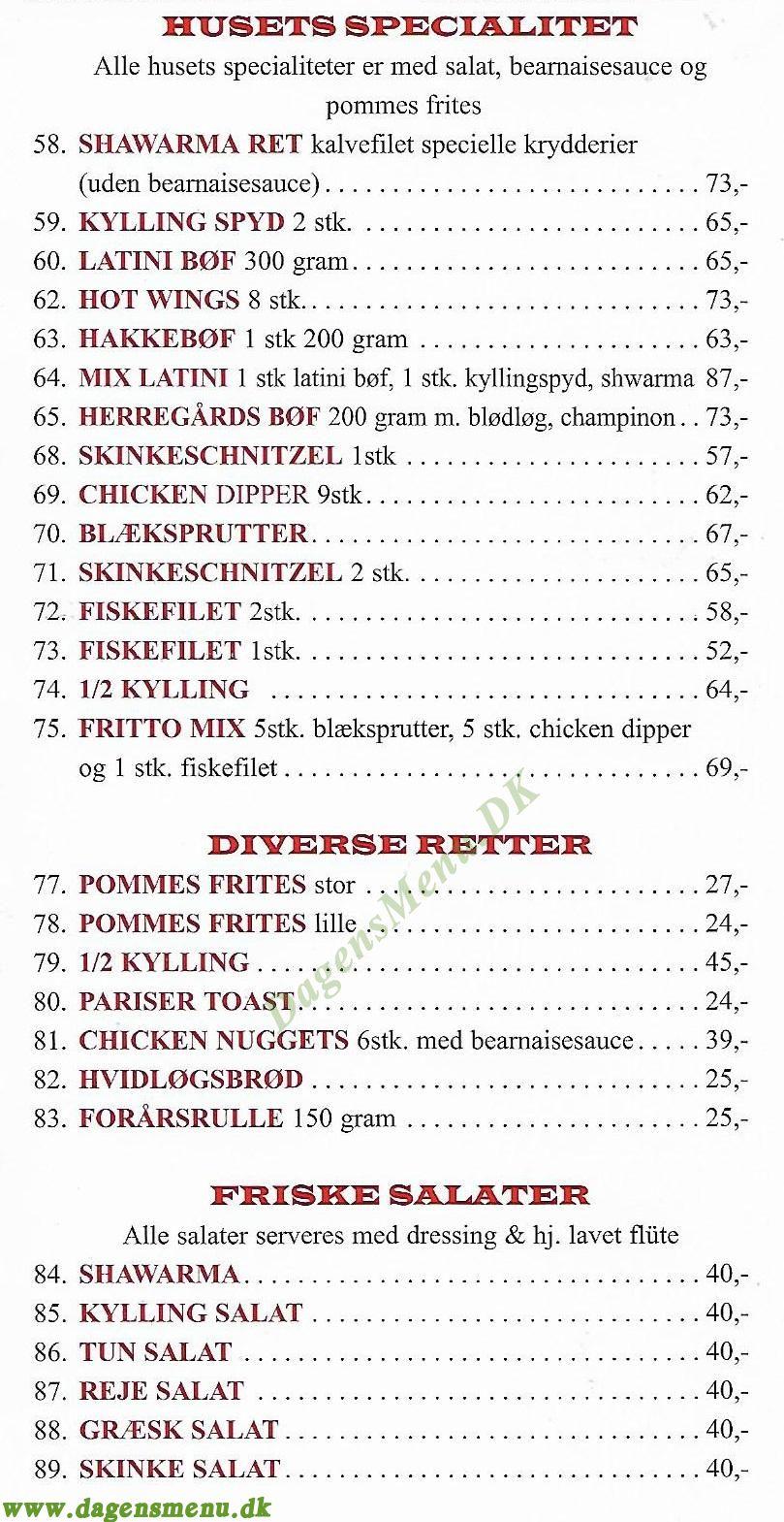 LATINI PIZZA & GRILLBAR - Menukort