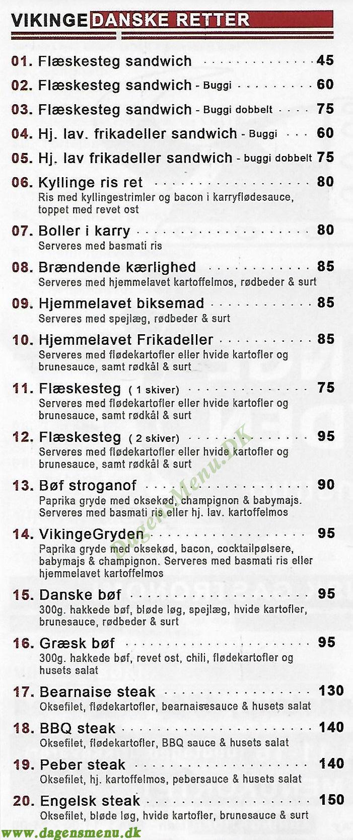 Vikinge Gryden i Mogenstrup - Menukort