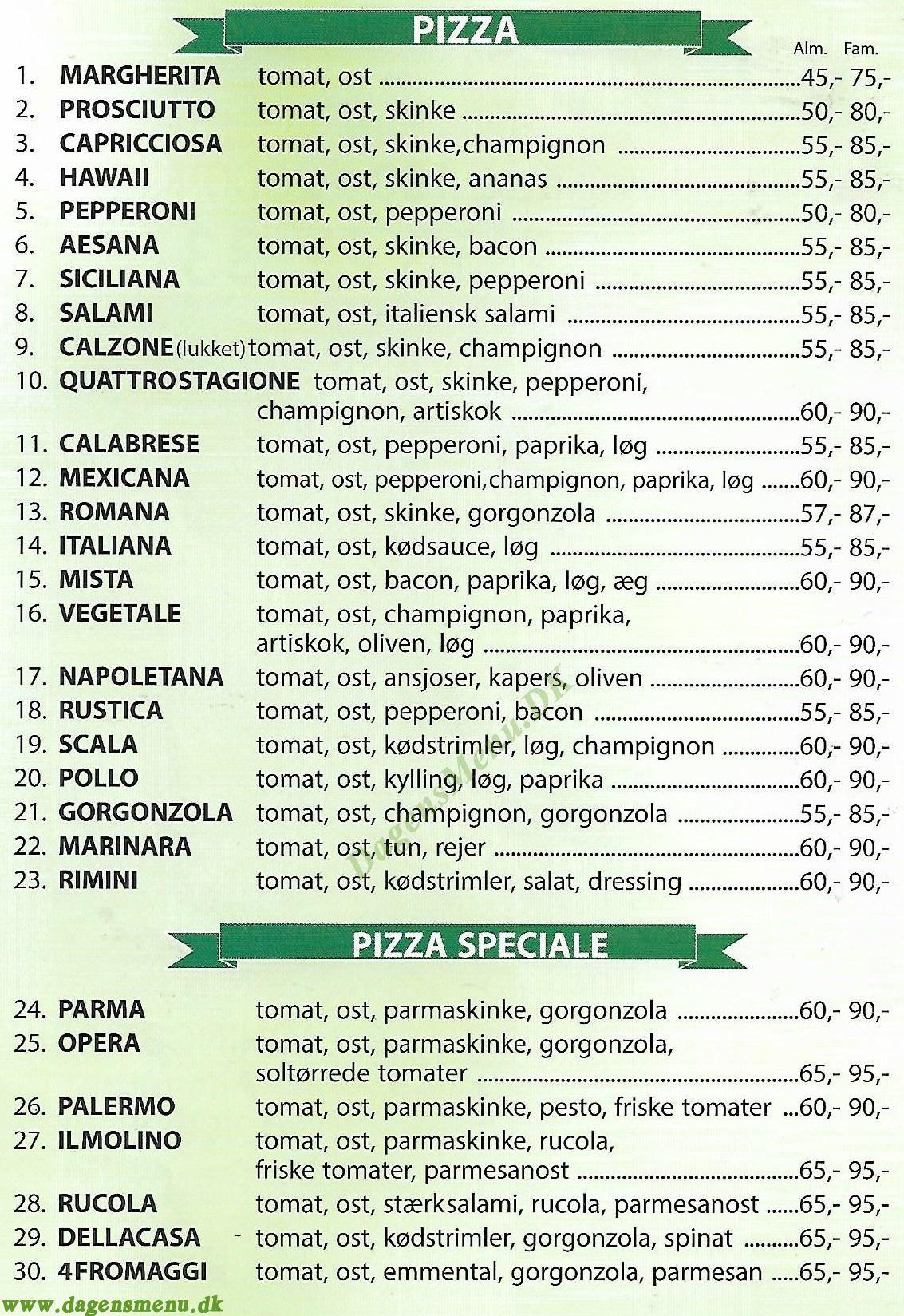 IL Molino Pizzaria - Menukort