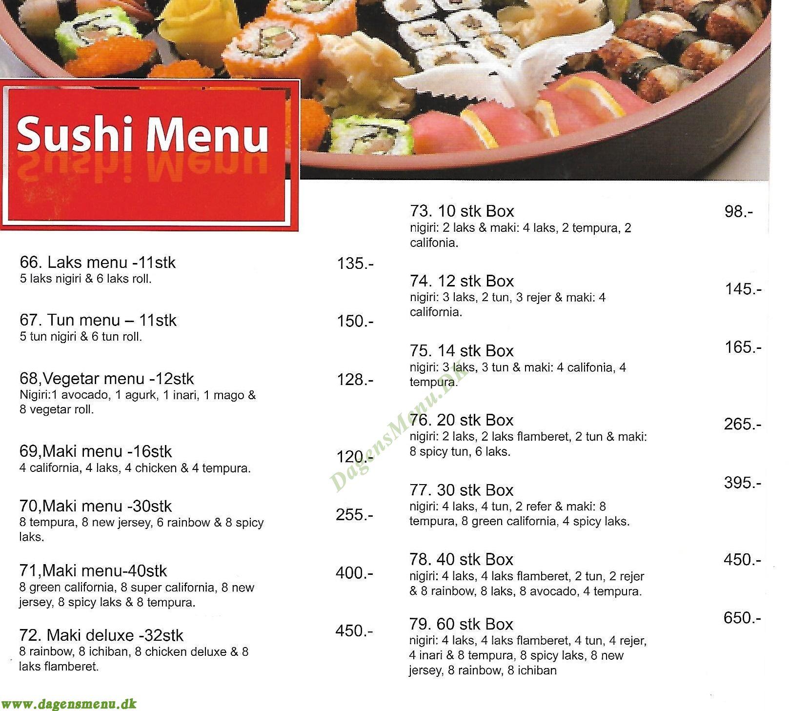 Samurai Sushi - Menukort