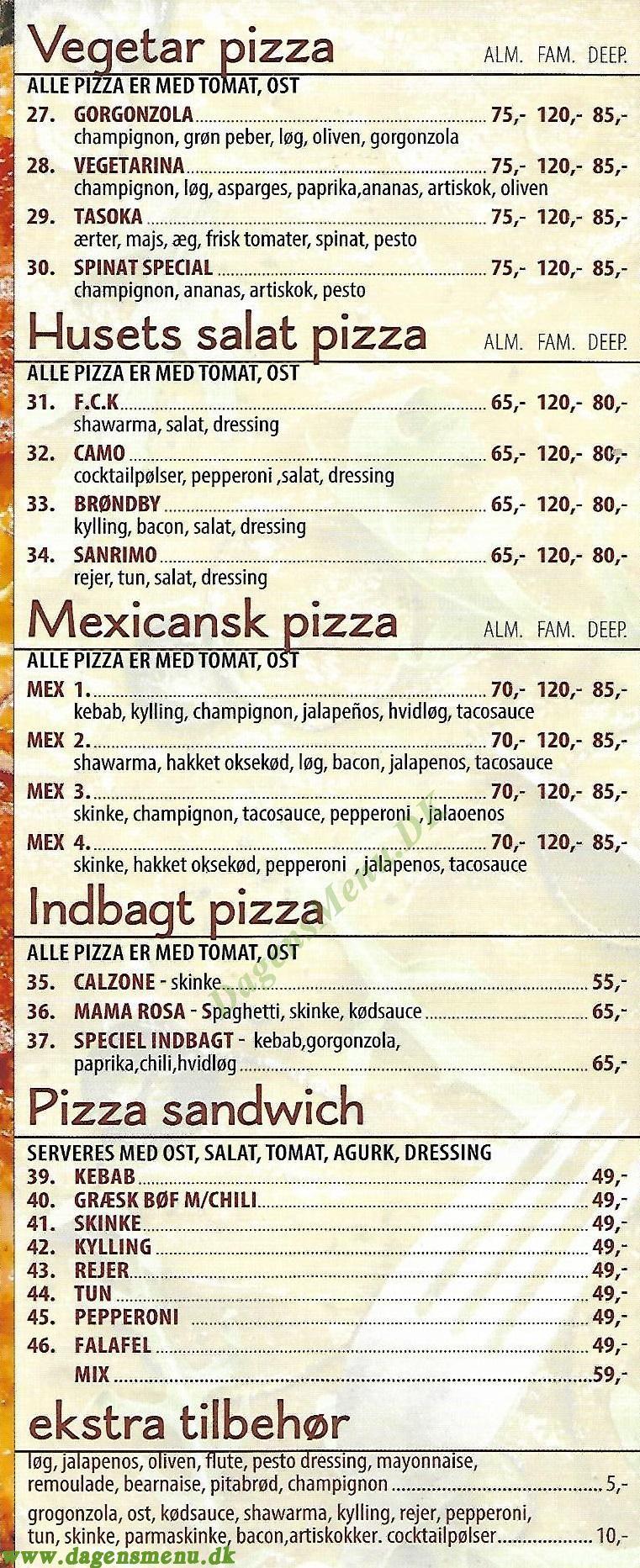 Esperia Pizza - Menukort